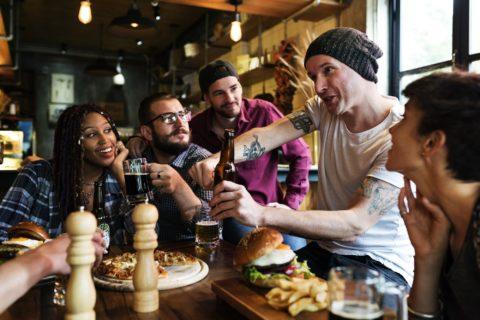 Diverse People Hang Out Pub Friendship